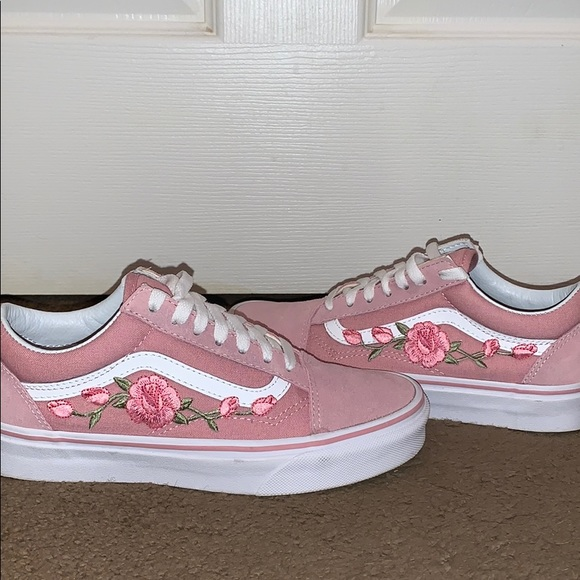 Pink Flower Old School Vans   Poshmark